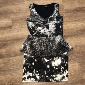 Desigual Tiered Black & White Dress | M